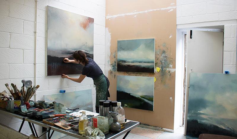 Artist Amelia Humber in her studio