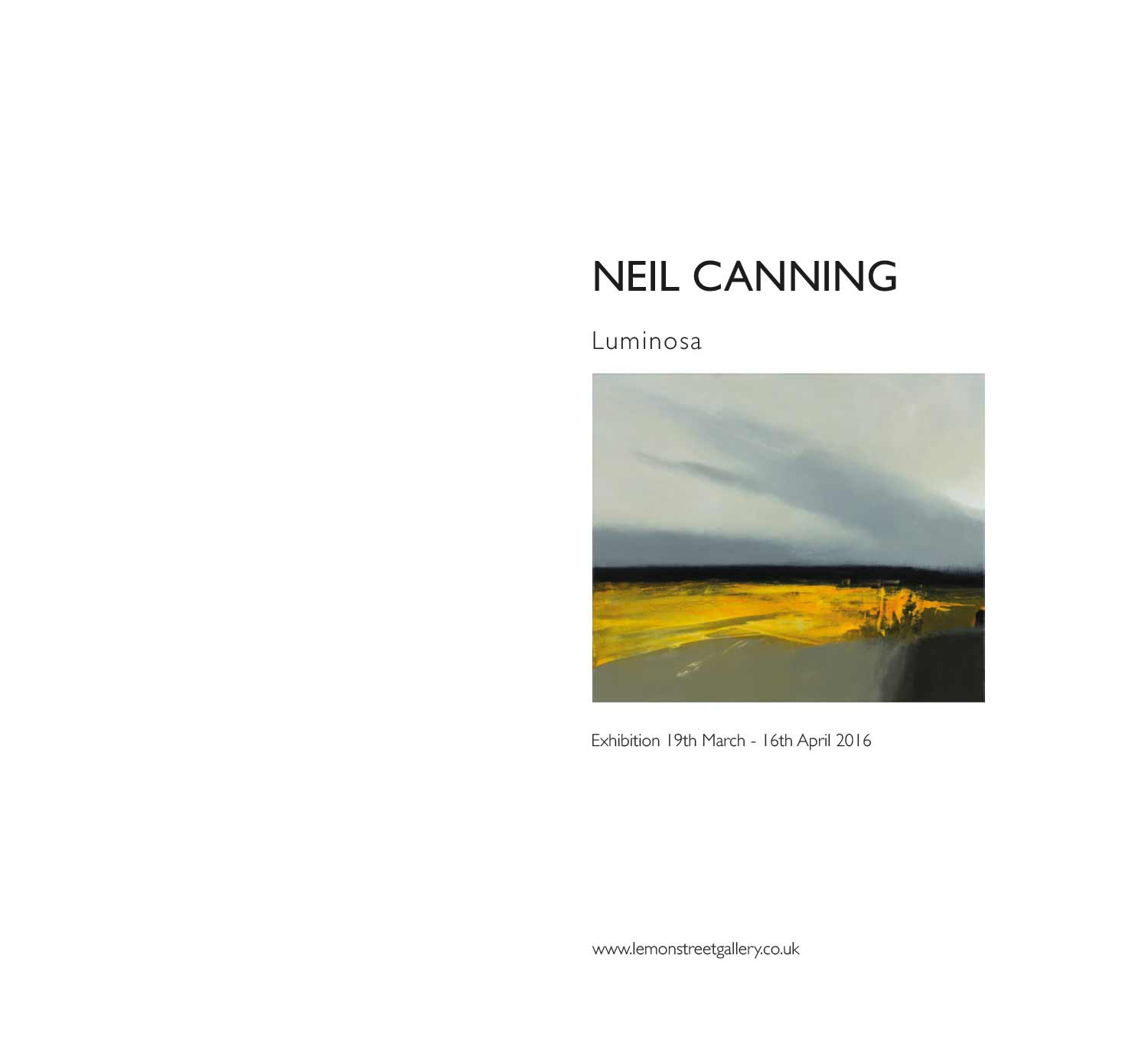 Neil Canning Luminosa art exhibition publication front page for Lemon Street Gallery